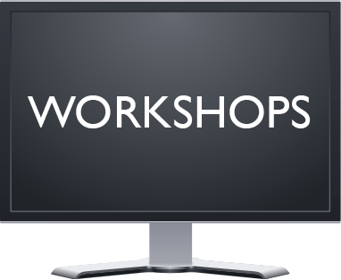 computer monitor with word Workshops on it