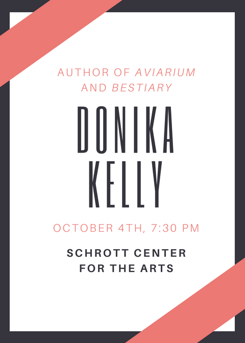 VWS Presents: Donika Kelly. Author of Aviarium and Bestiary. October 4th at 7:30 pm in the Schrott Center for the Arts.