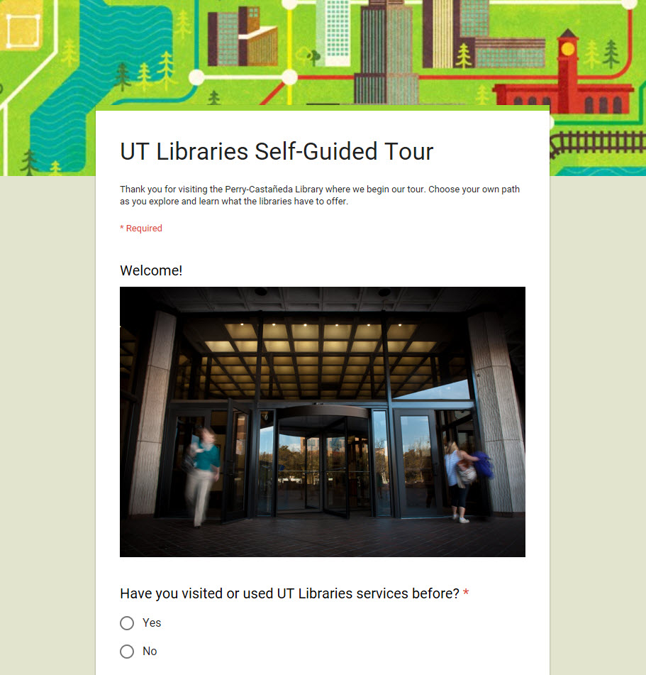 UT Libraries self-guided tour google form screenshot