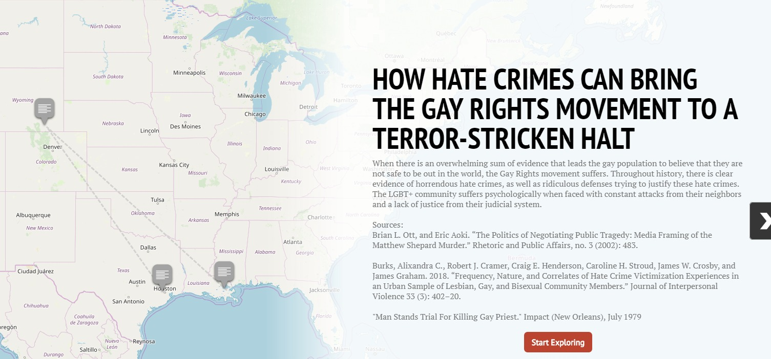 "Storymap JS screenshot for ""How Hate Crimes Can Bring The Gay Rights Movement To A Terror-Stricken Hault"""