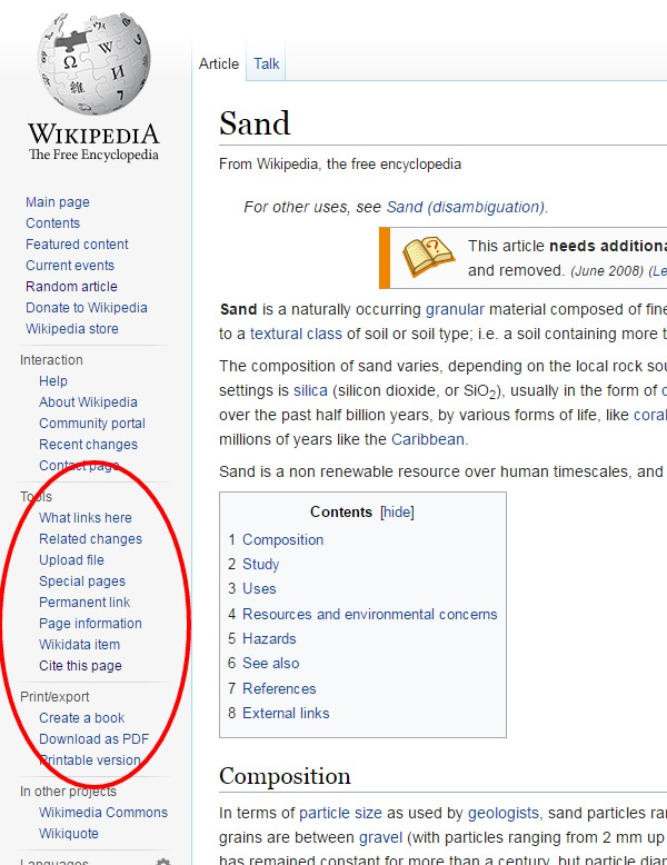 "Wikipedia article with ""tools"" and ""print/export"" highlighted"