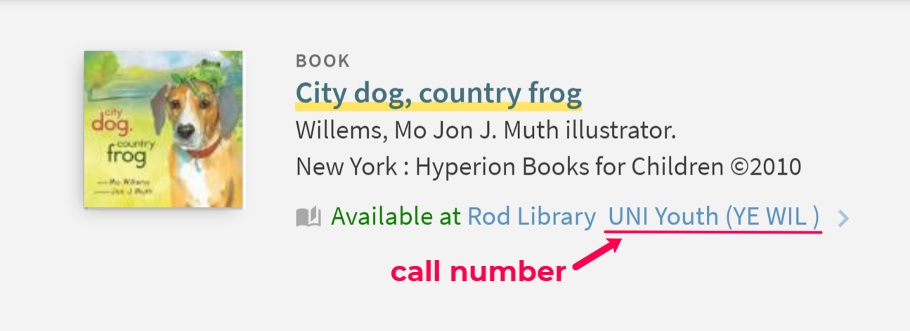 Example of dewey decimal call number in the library catalog