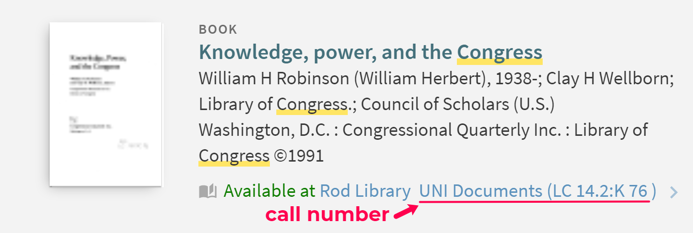 example of a sudoc call number in the library catalog
