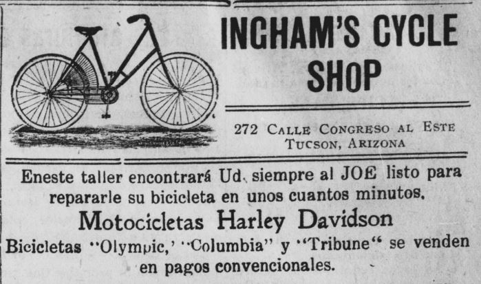 ad for Ingham's Cycle Shop