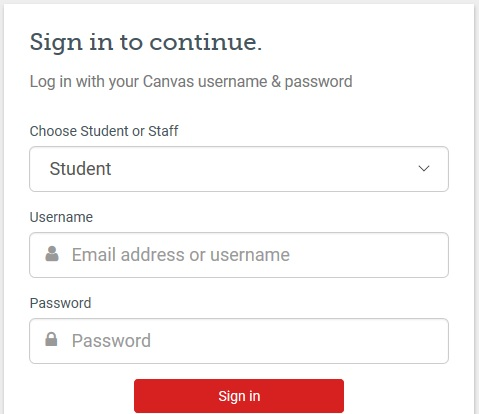 Log in with Canvas username and password