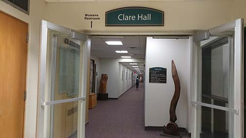 This photo shows the Clare Hall first floor hallway and was taken in fall 2018.
