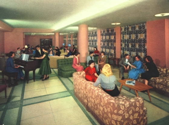 This photo from the 1950's shows the lovely first floor lounge in Corona Hall.