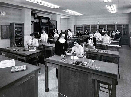 Sister Mary in a science lab in 1954