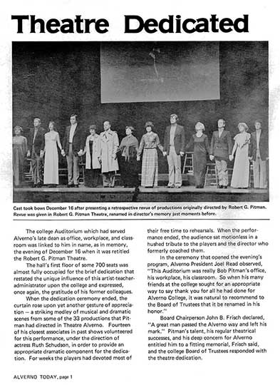 Alverno Today article about the 1978 theatre dedication