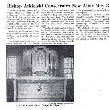"This is an article and photo from ""Alverno Campus News"" describing the consecration of the altar in Clare Hall's Sacred heart Chapel om May 8, 1958."