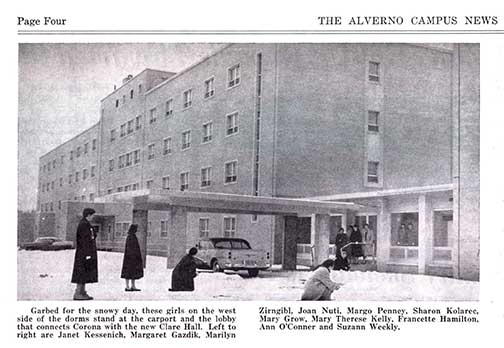 "This is a photo of the then ""new"" Clare Hall from the February 1957 issue of ""Alverno Campus News."""