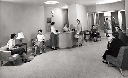 This is a photo of the Corona Hall Lobby as it looked in the early 1950's.