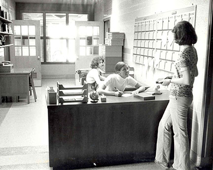 Old Media Hub reception area in 1976