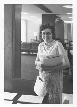 Sister margaret Earley at the first Conference of Women Theologians held in the Clare Hall lounge area in June 1971.