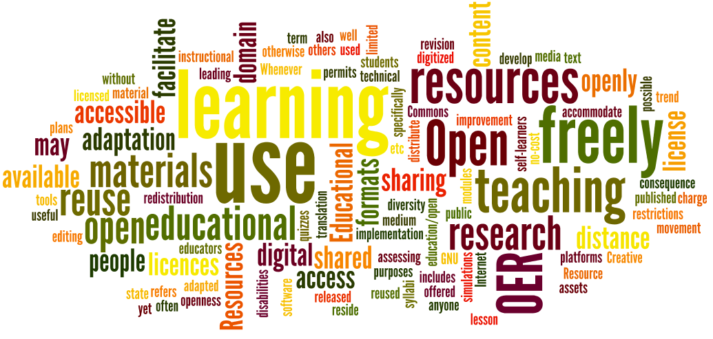 a word cloud using several definitions of open education resources