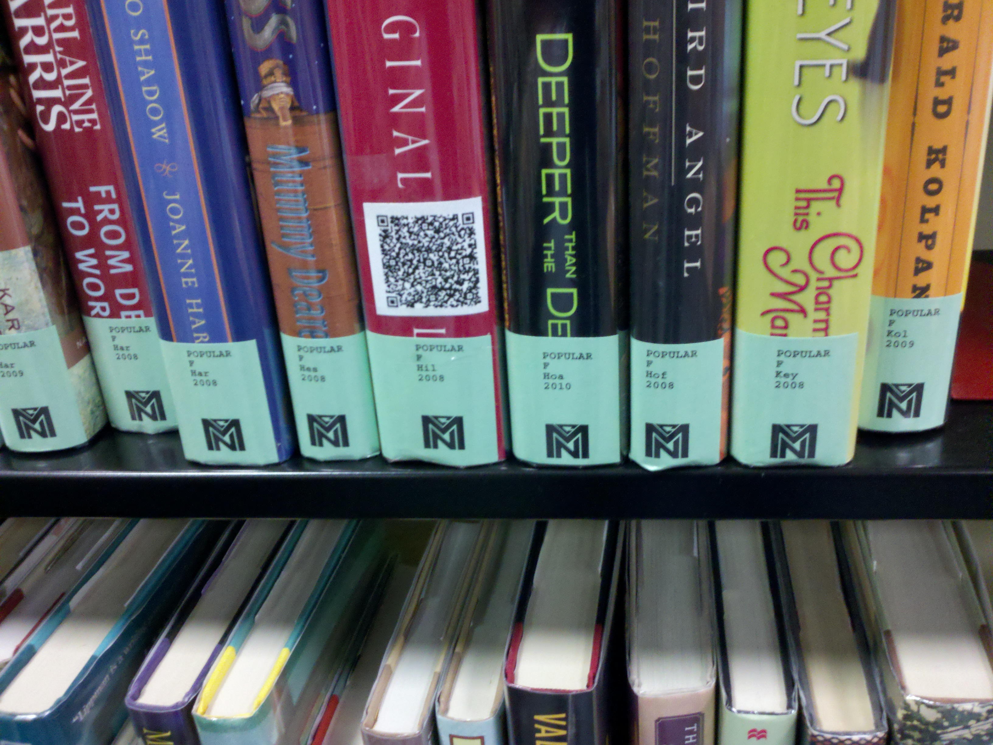 qr code on the spine of a book