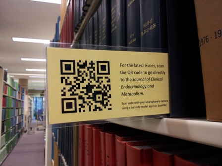 qr code in the journal stacks of a library