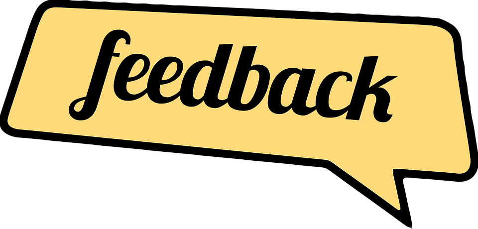 "Speach bubble with ""feedback"" written inside in an old timey font."
