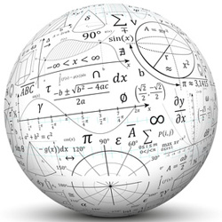 picture of globe with math equations written all over it