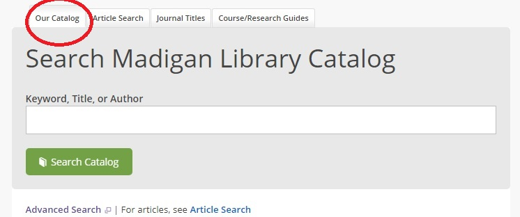 Search Madigan Library Catalog