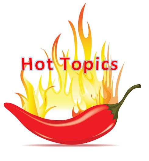 chili pepper with flames with the word hot topics