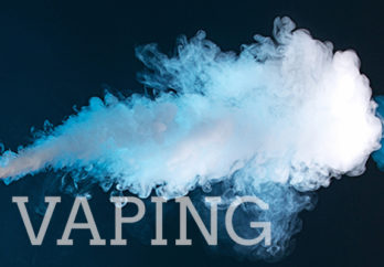 image of smoke with the word vaping written underneath it