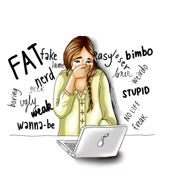 girl looking at a computer covering her mouth and surrounded by critical words