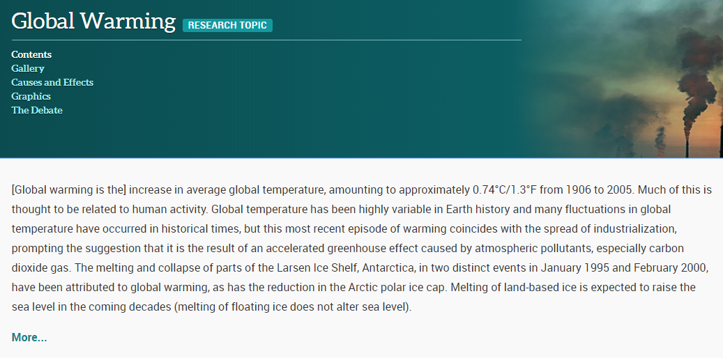 link to elibrary page on global warming