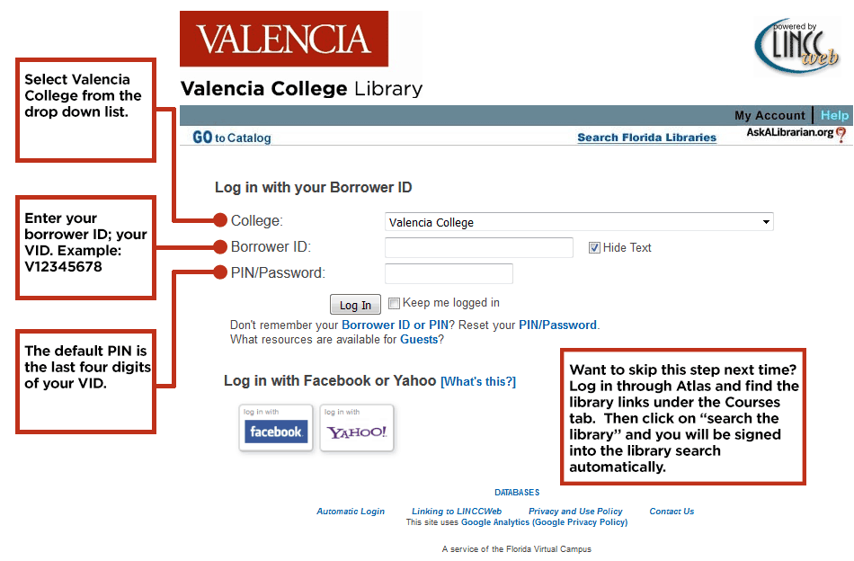 Screenshot of library login page