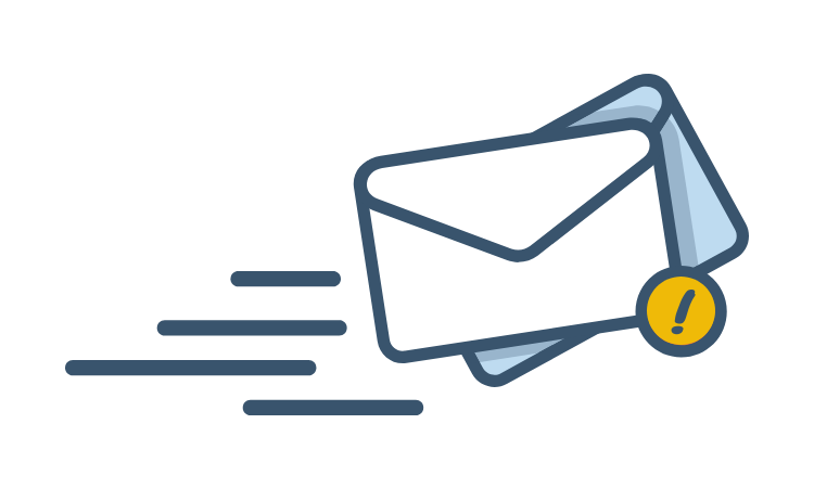 Email icon with exclamation point and movement lines.