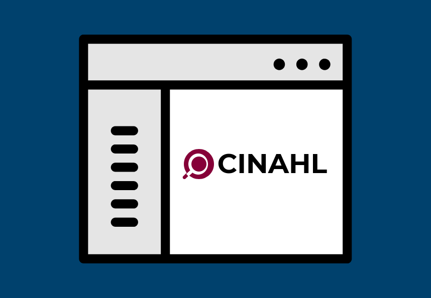 Web browser with text on the left and CINAHL on the right.