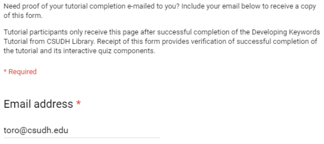 Google form proof of completion.