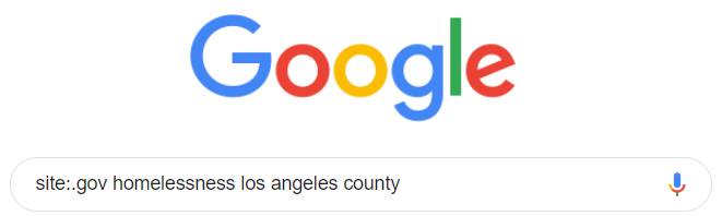 Google search for site:.gov homelessness los angeles county.
