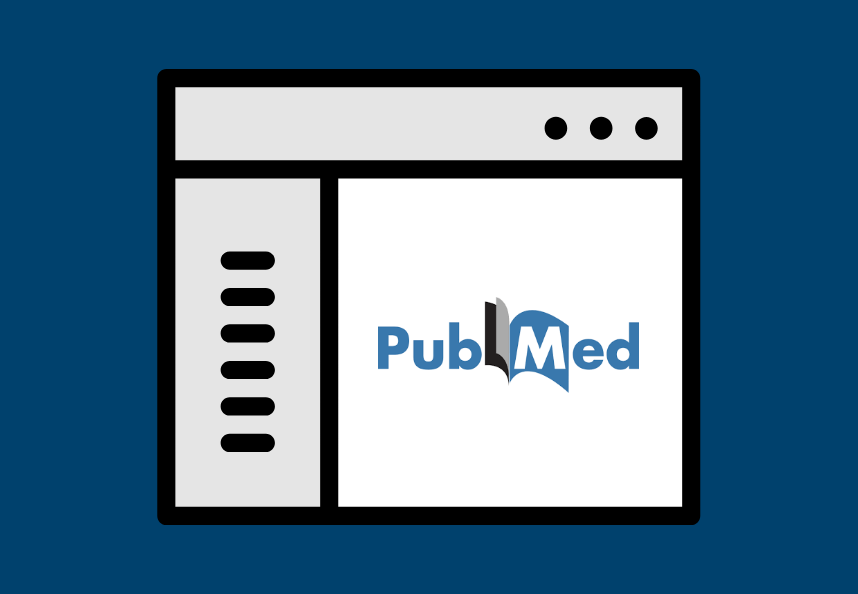 Web browser with text on the left and PubMed on the right.