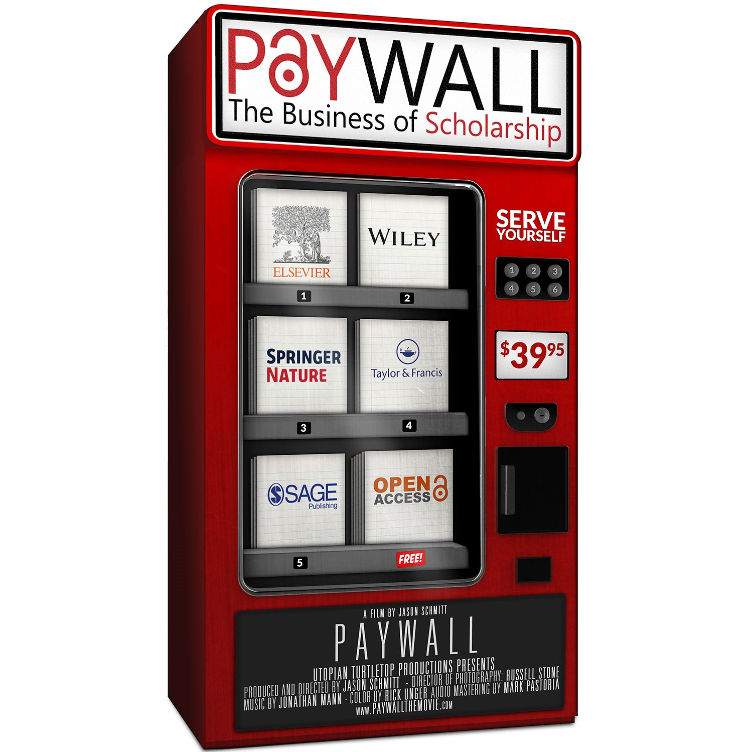 Movie poster for Unpaywall featuring a vending machine of academic publishers.