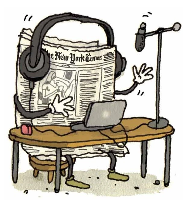 Animated newspaper recording a podcast