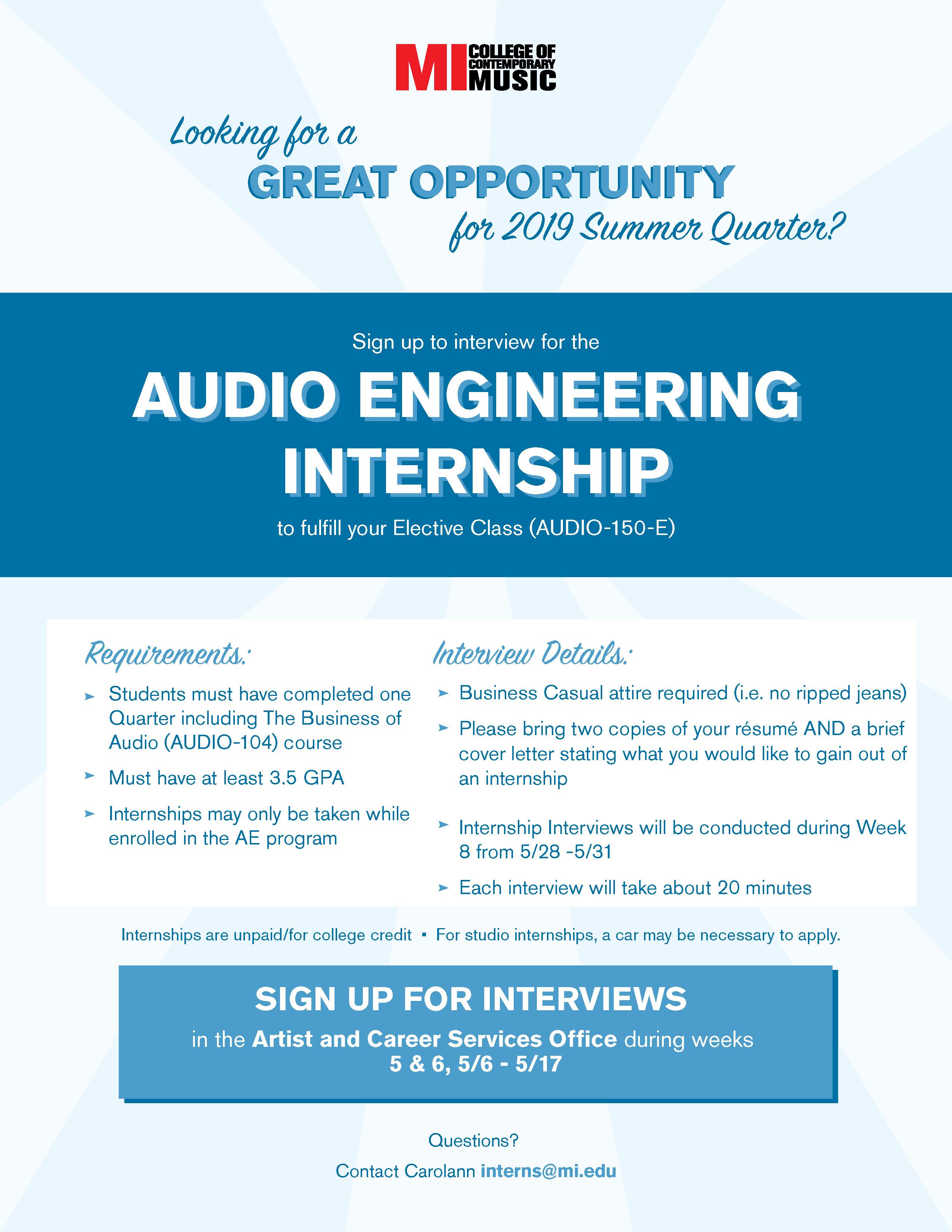 AUDIO ENGINEERING INTERSHIP