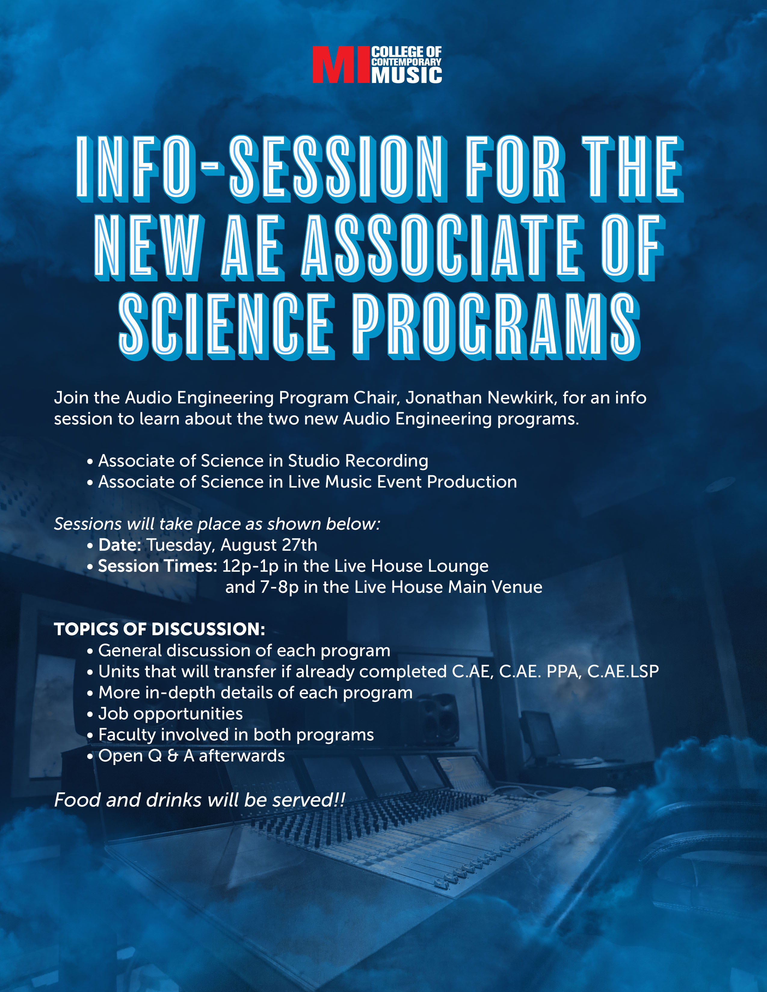 INFO-SESSION FOR THE NEW AE ASSOCIATE OF SCIENCE PROGRAMS