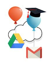 Google drive and gmail logos with balloons and graduation cap