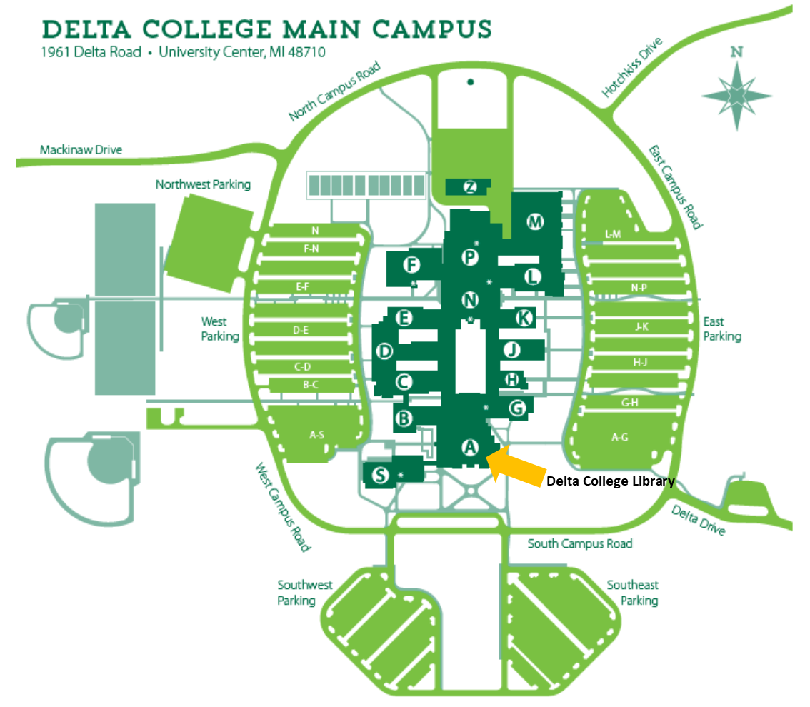 image of a map of Delta College showing library location in A-wing
