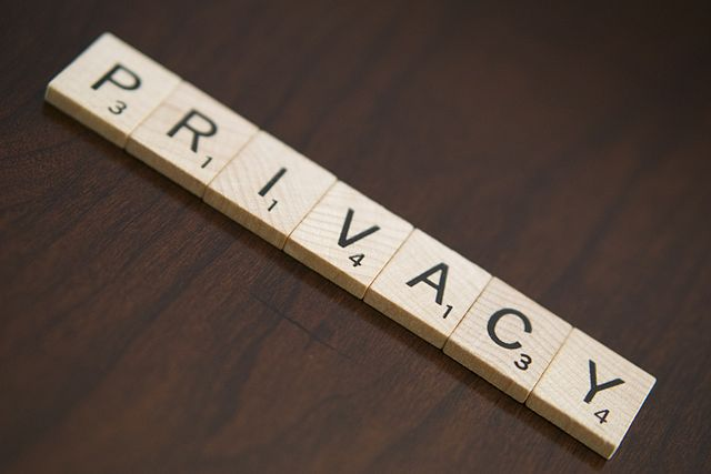 Scrabble game tiles spelling the word Privacy