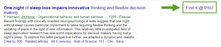 screenshot of find it at PSU link in Google Scholar