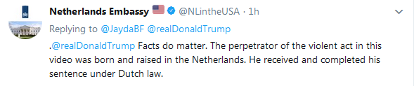 netherlands embassy twitter response to Trump