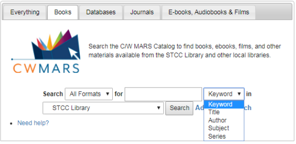 image of CW MARS search boxes with search option menu dropped down displaying options, keyword, title, author, subject, series.