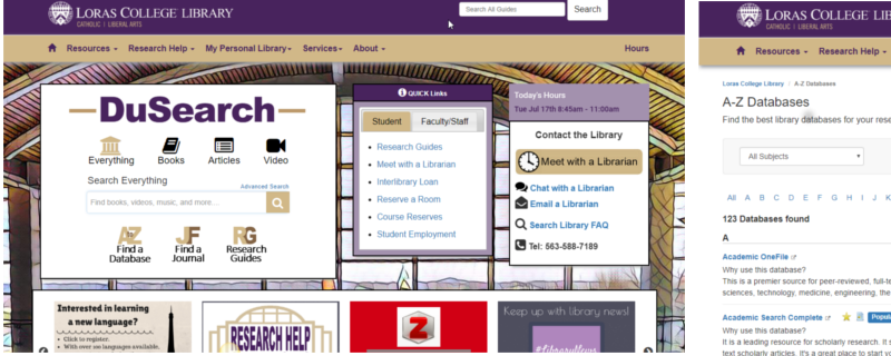 image of library web page