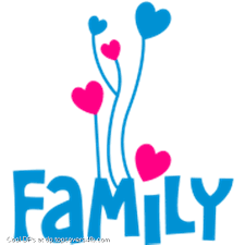 Word: family with heart balloons