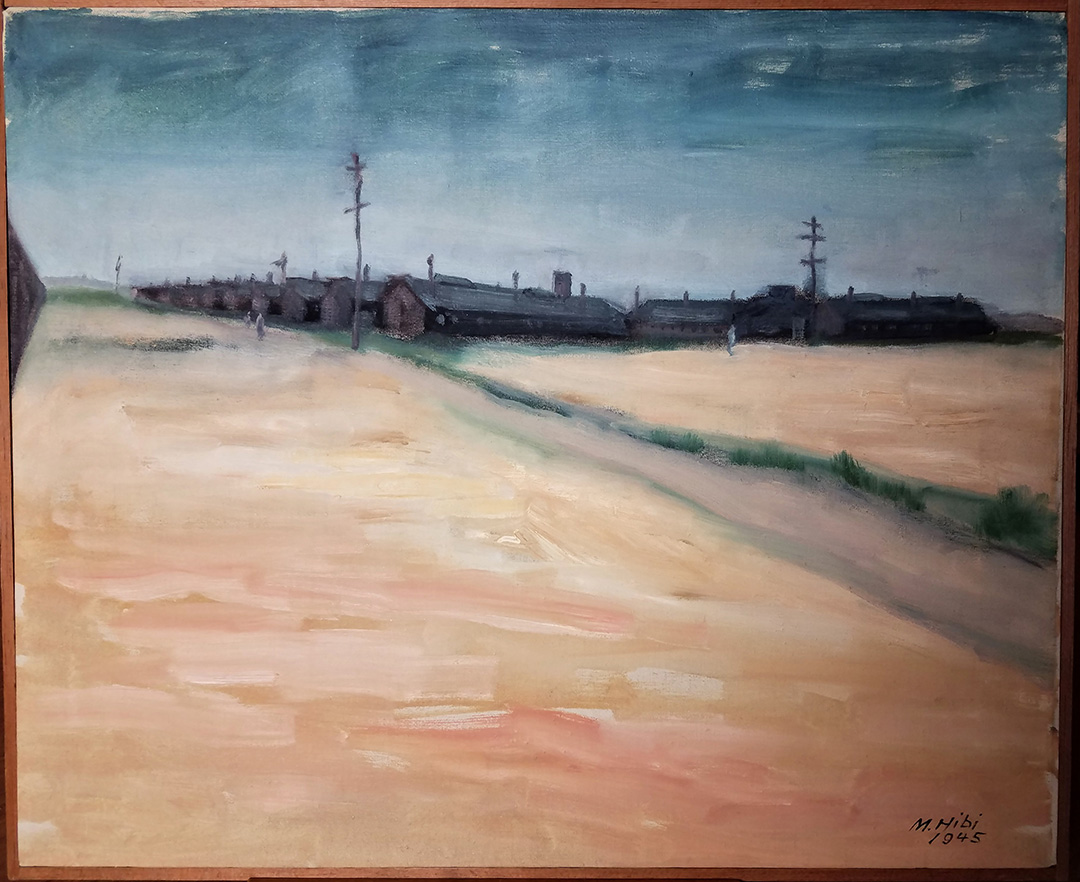 Oil painting of Topaz Internment Camp 1945