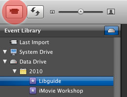 iMovie '09 Capture button
