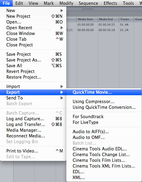 Exporting the sequence as a Quicktime movie