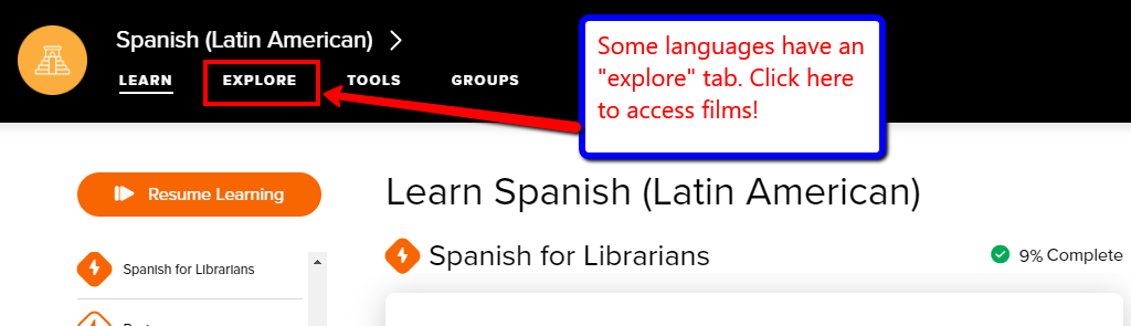 Screenshot of Spanish(Latin American) in Mango, with Explore tab highlighted.